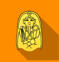 Egyptian pharaoh sarcophagus icon in flat style vector