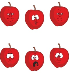 Emotion cartoon red apple set 002 vector image vector image