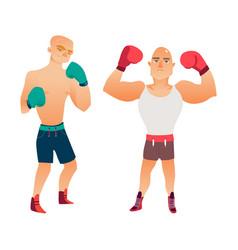 flat muscular handsome boxer man set vector image vector image