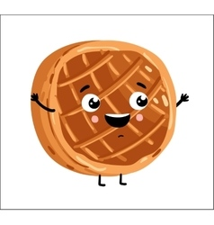 Funny baked pie isolated cartoon character vector