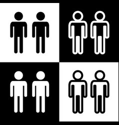 Gay family sign black and white icons and vector