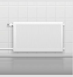 Hot water radiator realistic image vector