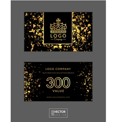 Modern glamour gift voucher with golden crown vector