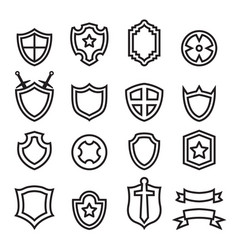 Outline shield icon set vector