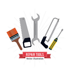 Pain brush saw wrench screwdriver tool icon vector