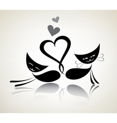 Romantic black cats happy couple vector