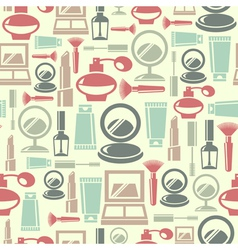 Seamless pattern with cosmetic icons vector image
