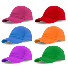 set of colored caps vector image vector image