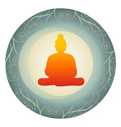 silhouette of Buddha in a circle vector image