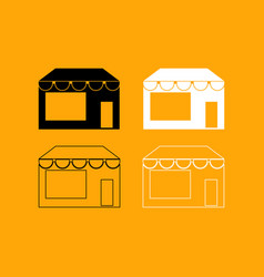 store set black and white icon vector image