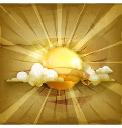 Sun old style background vector image vector image