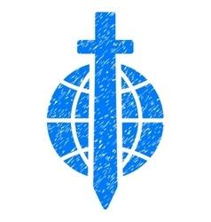 Sword globe grainy texture icon vector