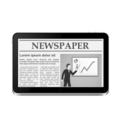 Tablet PC with online newspaper vector image vector image