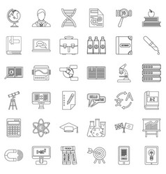 Teacher icons set outline style vector