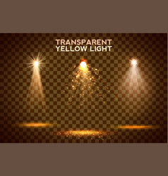 transparent yellow lighy effects on a dark vector image vector image