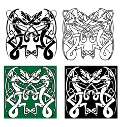 Tribal dragons with celtic knot pattern vector