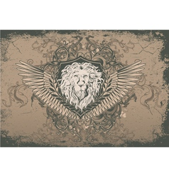 vintage background with lion head vector image