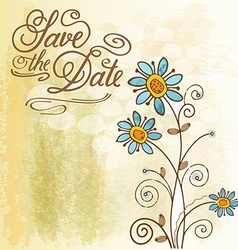 Watercolor floral card with message Save the Date vector image vector image
