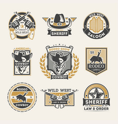 wild west vintage isolated label set vector image vector image