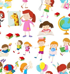 Seamless background with children reading and vector