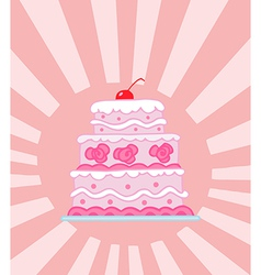 Triple tiered pink wedding cake vector