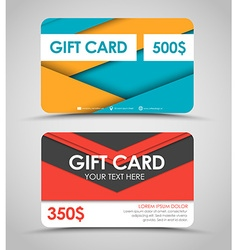 Design of gift cards in style of material design vector