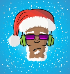 Disc jockey Santa Claus in a hat and a headphone vector image