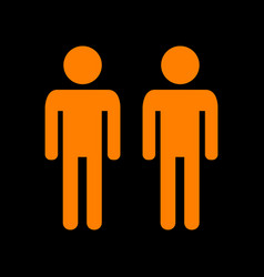 gay family sign orange icon on black background vector image