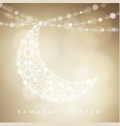 Ornamental arabic half moon with bokeh lights vector