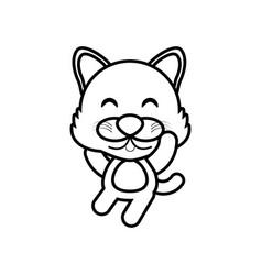 cartoon wolf animal outline vector image