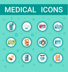 pharmacy icon pills set medical health care vector image