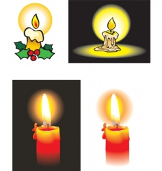 Collection of burning candles vector