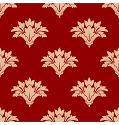 Red and beige floral seamless patern vector