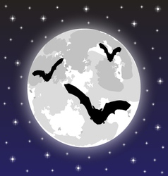 Bats on the background of the full moon vector