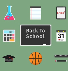 Back to school flat concept set vector