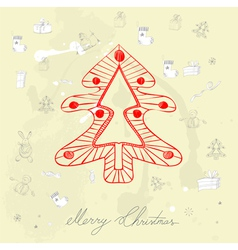 decorative card with christmas tree vector image