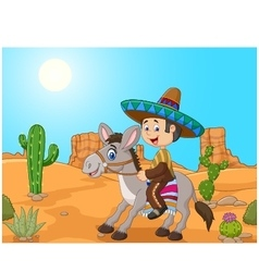 Mexican men driving a donkey in the desert vector