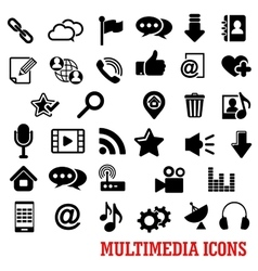 Multimedia and web social media icons vector