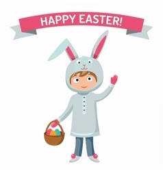 Greeting card easter rabbit boy kid with basket vector