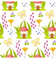 Spring forest mushroom house seamless pattern vector