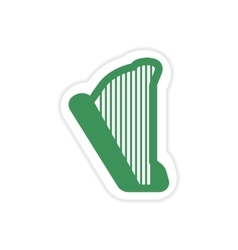 Paper sticker on white background greek harp vector