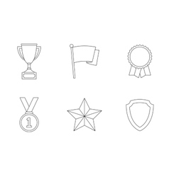 Trophy and awards outline icons vector