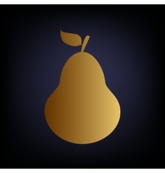 Pear sign golden style icon vector