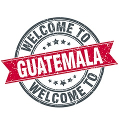 Welcome to guatemala red round vintage stamp vector