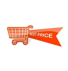 Sale design sticker with shopping basket best vector