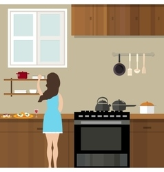 Mom woman cooking in kitchen preparing for food vector