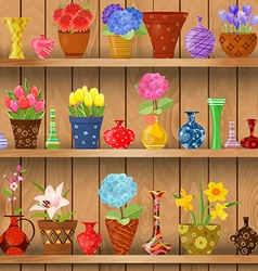 Modern glass vases and flowers planted in art vector