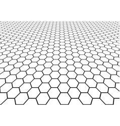 abstract black hexagon mesh perspective vector image