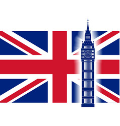 Big ben on background of Great Britain flag vector image