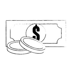 bills and coins icon vector image vector image